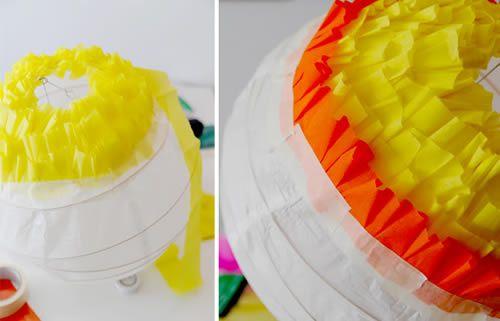 luminária de papel crepom