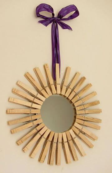 Como decorar um espelho com pregador de roupa for Donde puedo comprar espejos