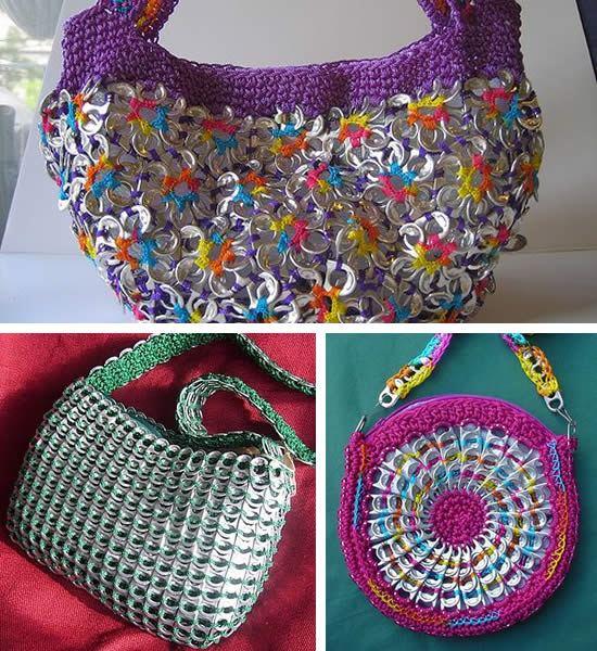 bolsas coloridas feitas com lacres de alumínio