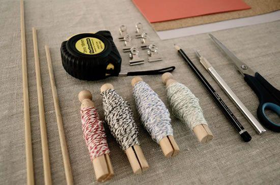 materiais usados para fazer mobiles de folhas
