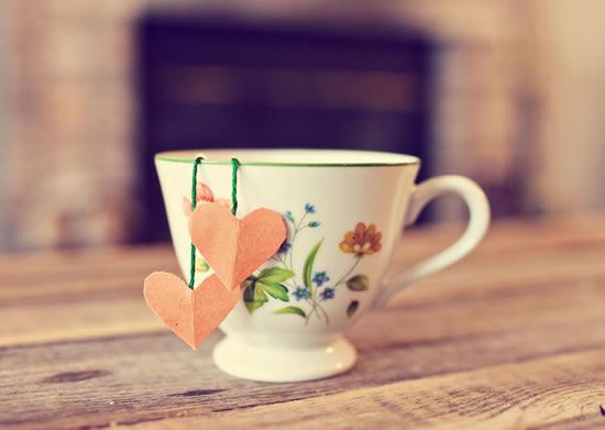 Sachê de chá com coração
