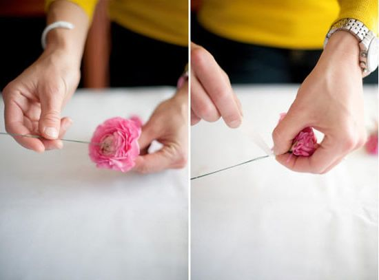 Colocando arame na flor