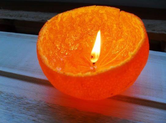 Vela de laranja para decoração de casamentos