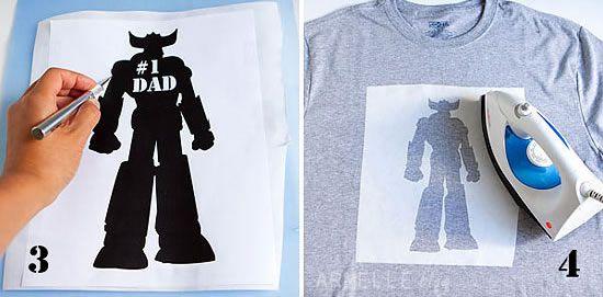 Pintando camisa com papel freezer