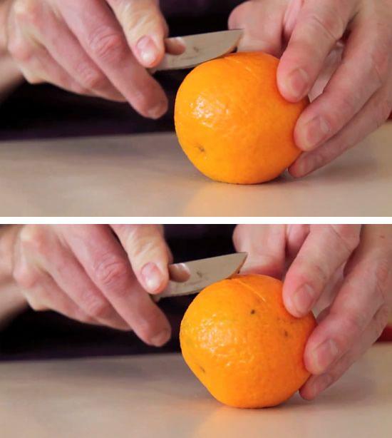 Cortando a laranja com faca
