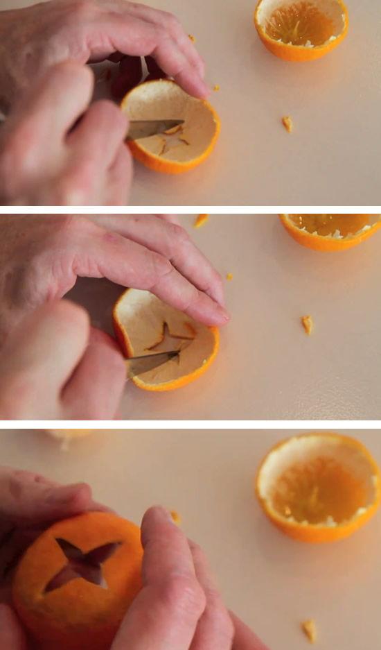 Decorando a casca de laranja