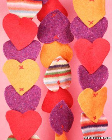 Decoração romântica feita com feltro