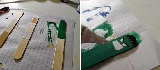 Pintando o palito de picolé