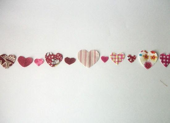 Vários corações de tecido