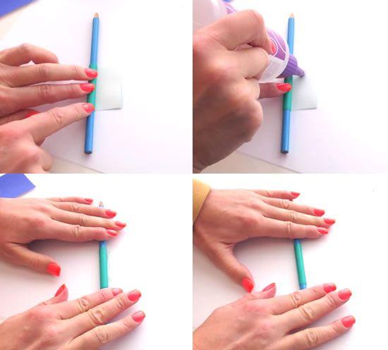 Passo a passo de colar de papel colorido