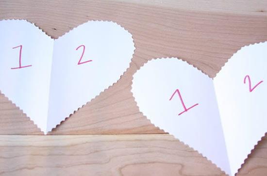 Corações cortados para a confecção do artesanato