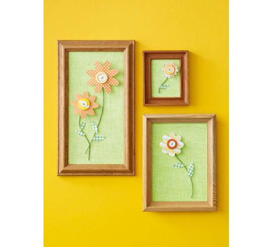Quadros decorativos com flor de papel