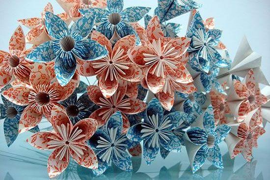 Flores de origami para decoração