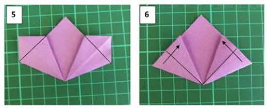 Processo de confecção de uma flor de origami