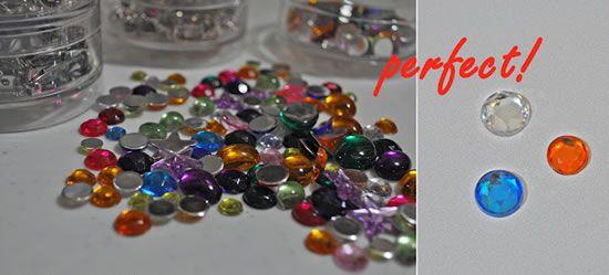 Gemas de vidro para artesanato