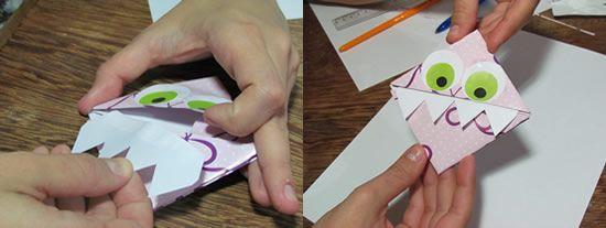 Colando os dentes do marcador de livro de papel