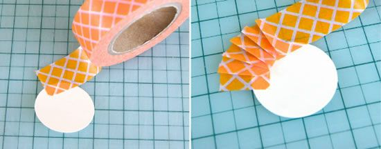 Fazendo a decoração com fita adesiva estampada
