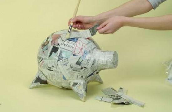 Fazendo as camadas do porco de papel