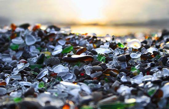 Praia de vidro exótica nos EUA