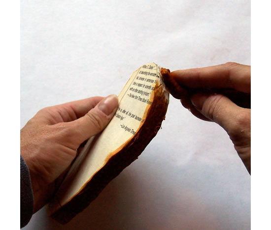 Pintando o livro velho com tinta no algodão