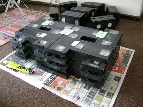 Fitas VHS para criar centro para sala