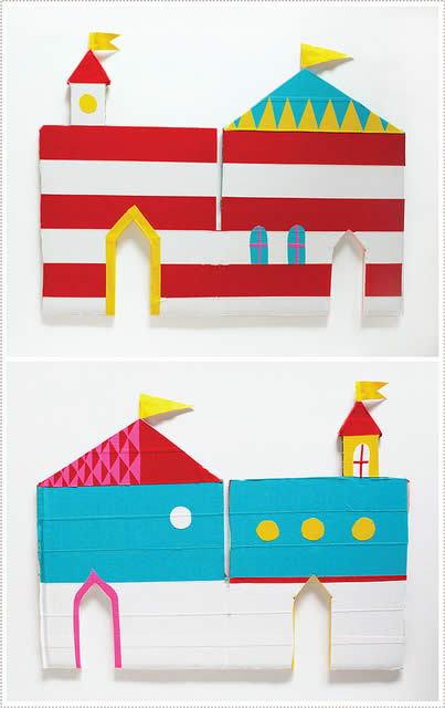 Castelo sendo decorado com papel crepom
