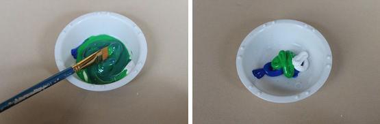 Misturando as tintas acrilicar para criar a cor verde musgo claro