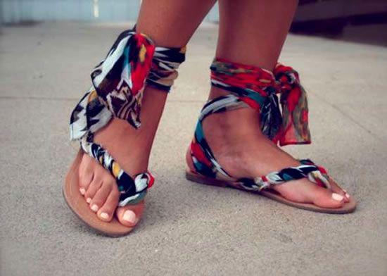 Decoração de sandálias com tecido passo a passo