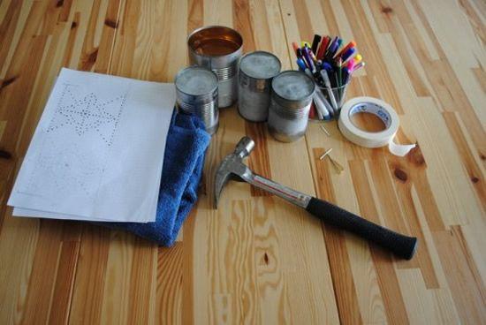 Materiais para fazer luminária de lata de leite