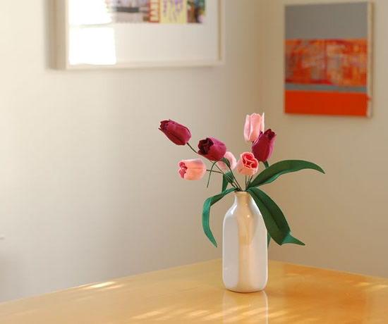 Flor de feltro para decoração da sala