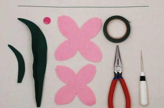 Materiais para fazer flor de feltro