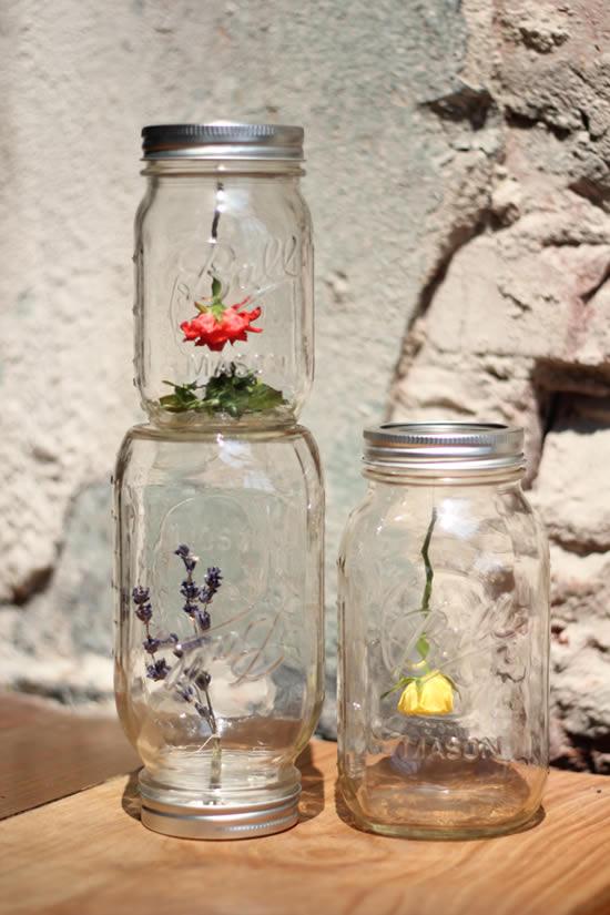 Artesanato com potes de vidro para decoração do jardim