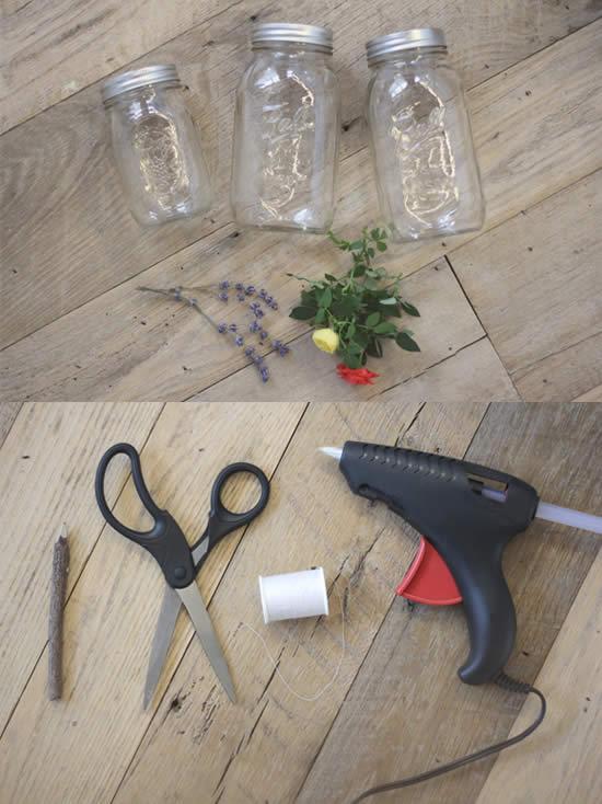 Materiais para fazer artesanato com pote de vidro