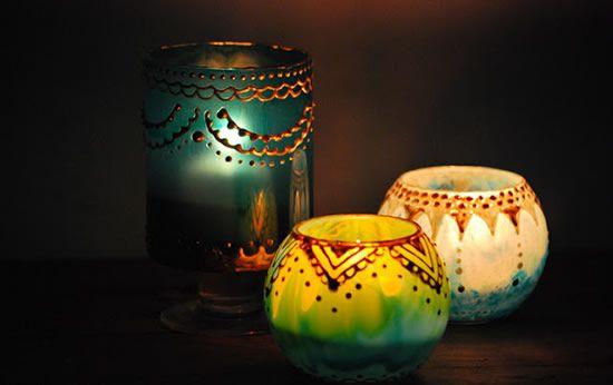 Luminárias com jarros de vidro