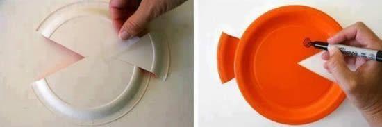 Decoração com pratos de plástico reciclados