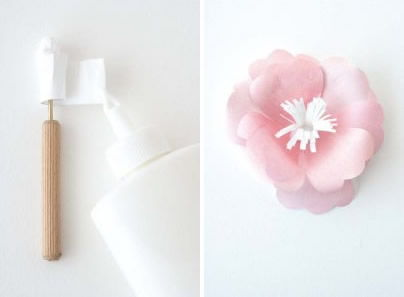 Criando miolo de papel para flores