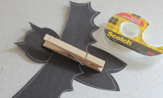Morcego com pregador passo a passo