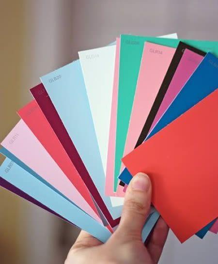 Plaquetas de cores coloridas
