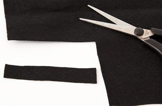 Tira de feltro preta
