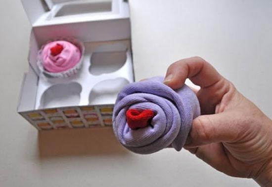Criando cupcake com tecido