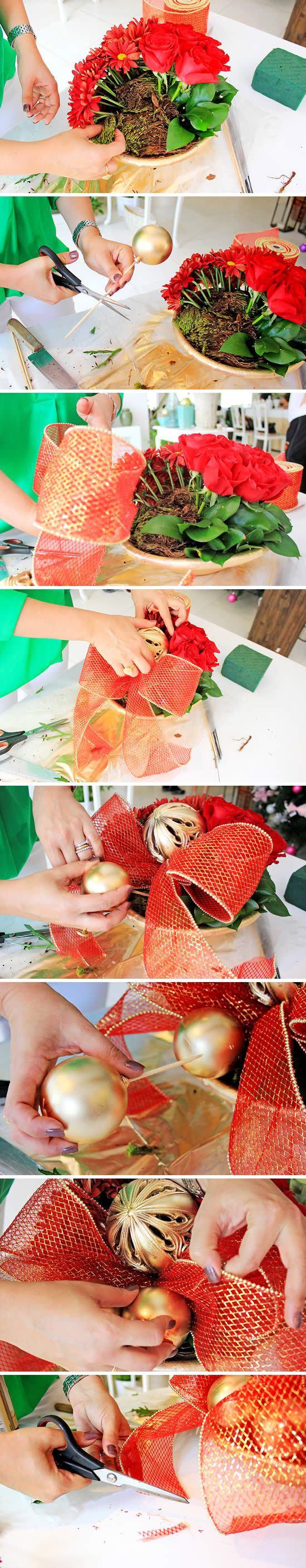 Últimos ajustes para o artesanato floral natalino