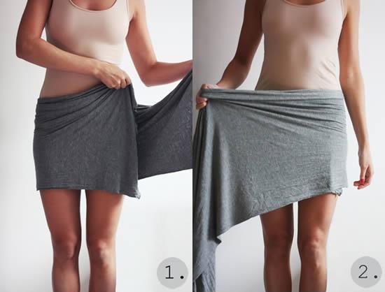 Saia de tecido sem precisar costurar