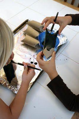 Pintando os rolinhos