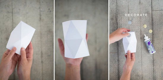 Vaso de papel para decoração do ambiente