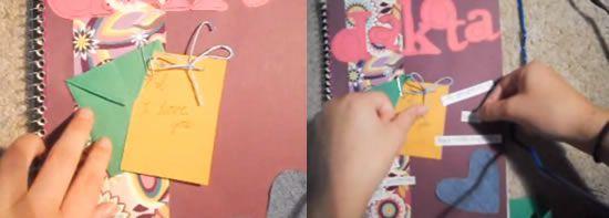 Colando o detalhe no caderno passo a passo
