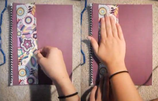 Colando o detalhe no caderno
