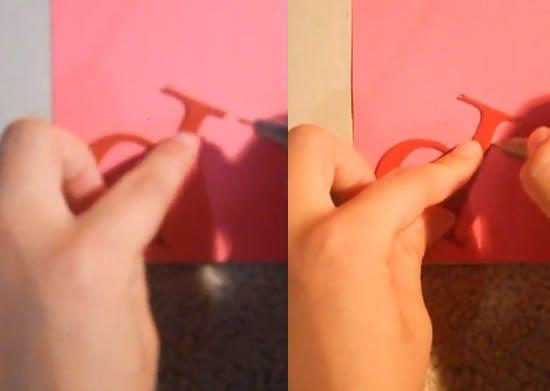 Cortando as letras com o molde de papel