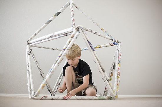 Como fazer artesanato com jornal - Cabana infantil passo a passo