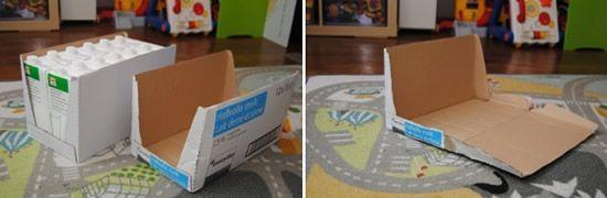 Caixa de papelão para fazer artesanato infantil