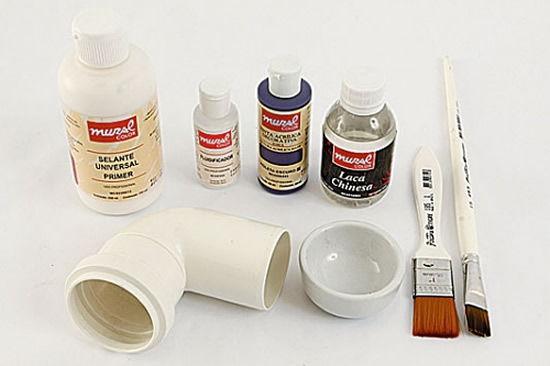 Materiais para fazer a decoração com canos PVC